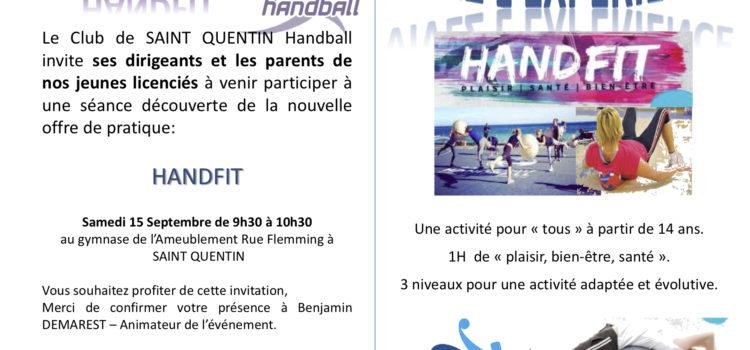 Invitation HANDFIT : samedi 15/09/2018 à 9H00