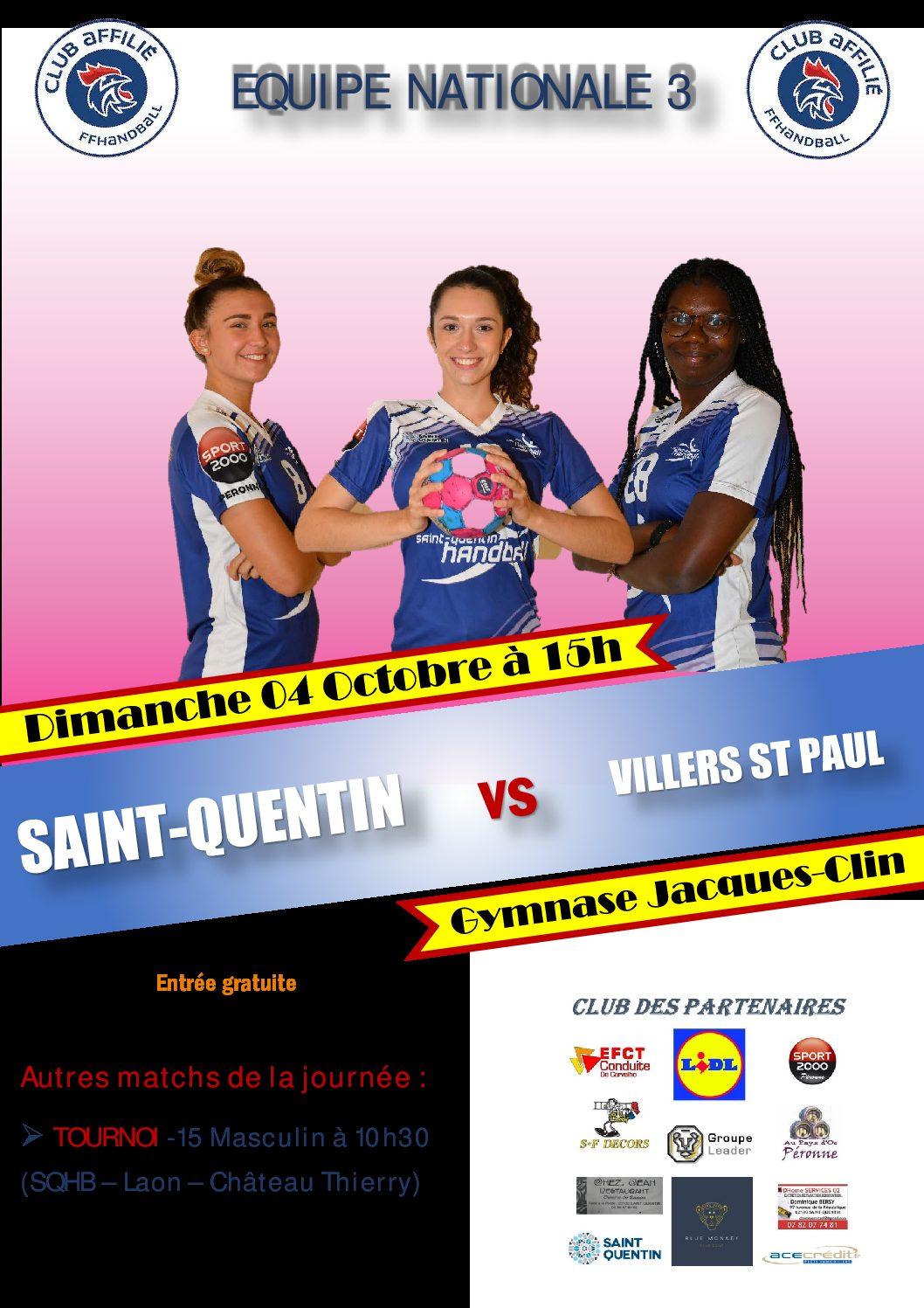 N3 : SQHB Féminines N3 contre Villers St Paul